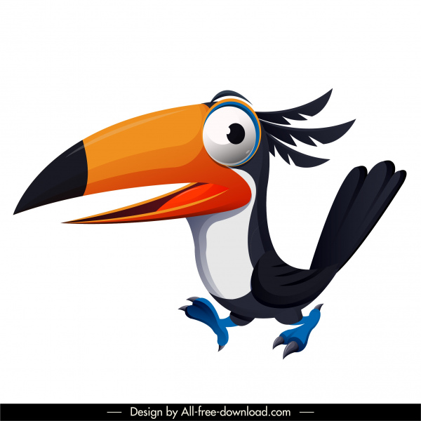toucan bird icon funny cute cartoon character sketch