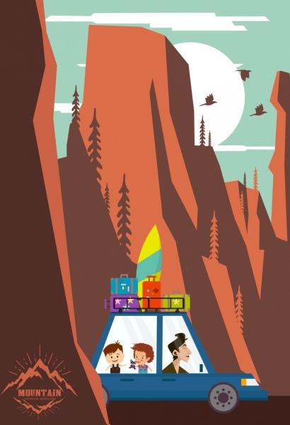 tour advertising family car mountain landscape icons decor