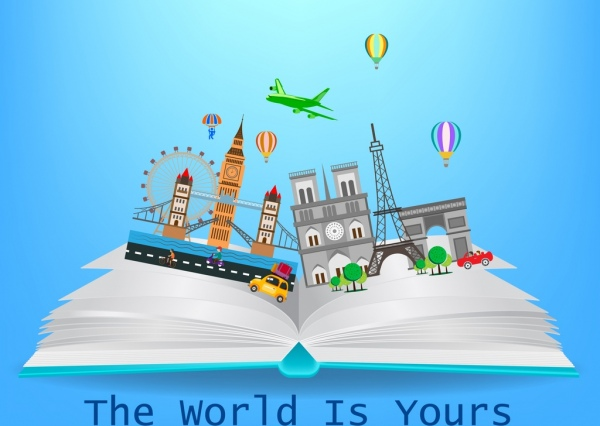 tourism knowledge banner open book landmark icons decor