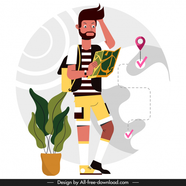 tourist painting backpacker positioning map sketch cartoon design