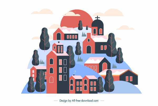 town background houses hill sketch colored classic design