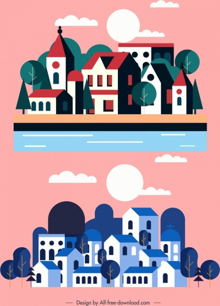town background templates classical red blue decor
