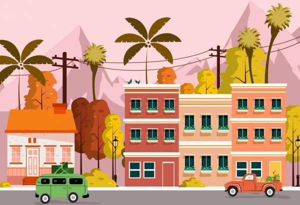 town landscape background buildings cars road icons decor