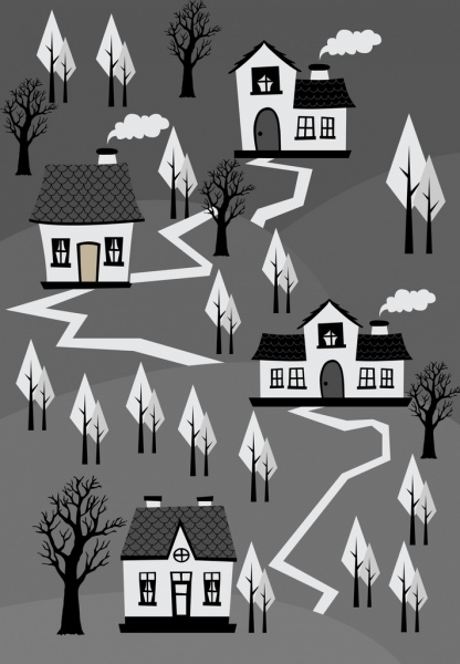 town landscape drawing black white retro design