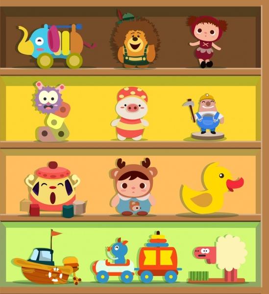 toy icons display various colored symbols shelf decor
