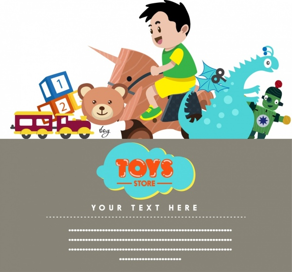 toy store banner boy toys icons decor