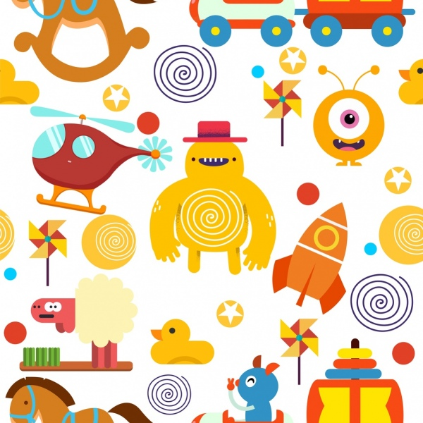 Toys Background Colorful Flat Symbols Decor Free Vector In Adobe