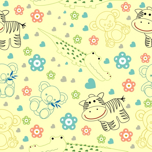 Toys Background Handdrawn Sketch Colored Repeating Decor Free Vector