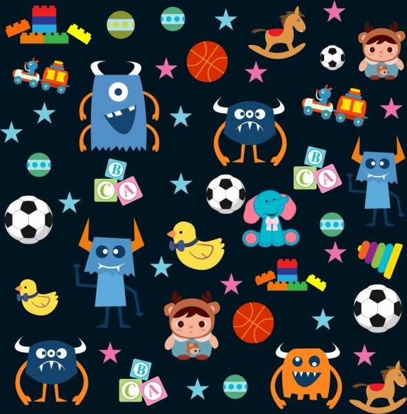 toys icons background various multicolored icons repeating design