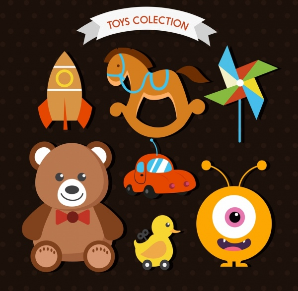 toys icons collection various colored flat symbols isolation