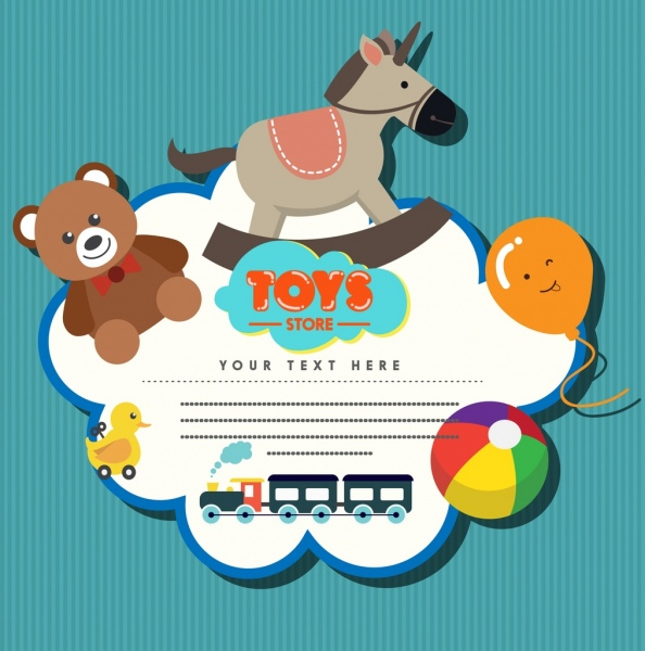 Toys Store Badge Template Colored Flat Design Free Vector In Adobe