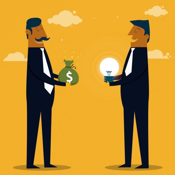 trading concept drawing businessmen money lightbulb icons