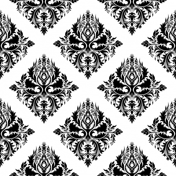 decorative patern symmetric repeating black white sketch