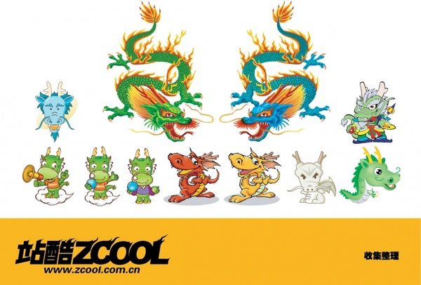 asian dragon icons collection cute cartoon characters