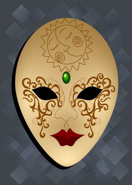 traditional mask background scary design woman face icon