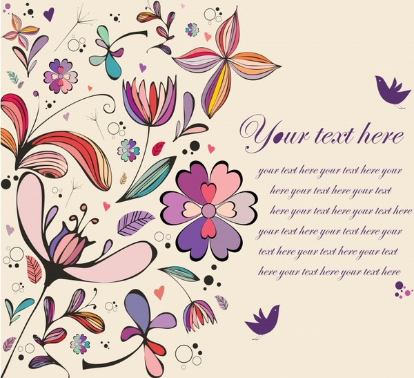 card background nature theme colorful flowers butterflies ornament