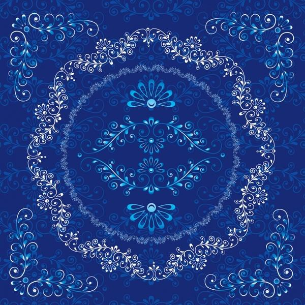 decorative pattern retro tradition design blue symmetric ornament
