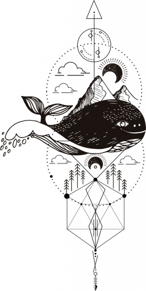 Traditional Tattoo Design Elements Whale Mountain Moon Icons Free