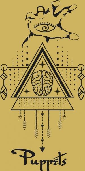 traditional tribal drawing hand brain triangle symmetric design