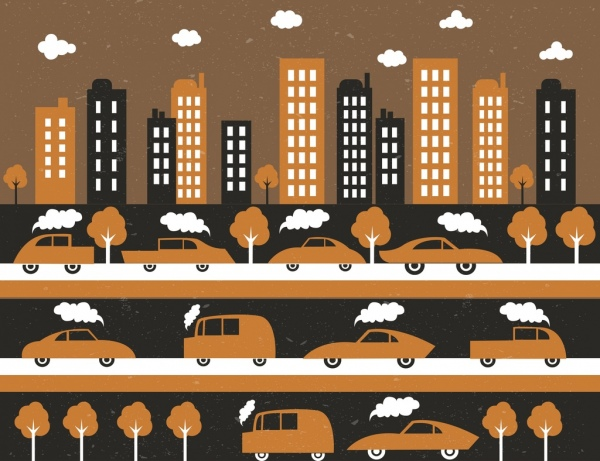 traffic background buildings cars icons classical flat design