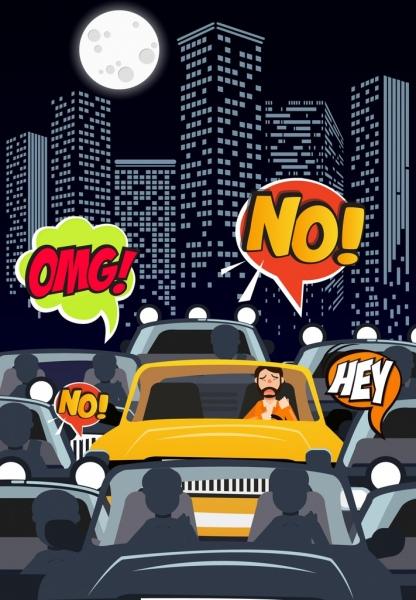 traffic background moonlight cars speech bubbles cartoon design