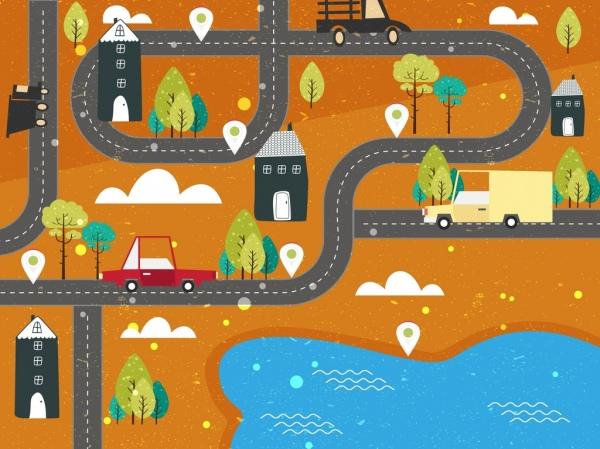 traffic background road cars land icons flat design