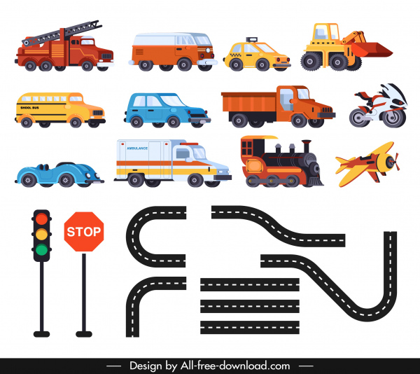 traffic design elements vehicles signboard road icons sketch