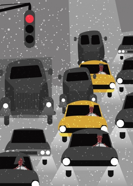 traffic drawing car light snow icons colored cartoon