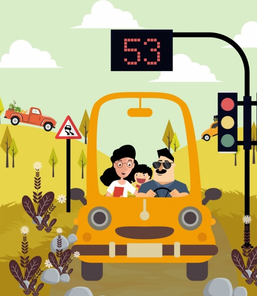 traffic drawing family car trip light pole icons