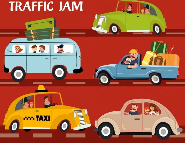 traffic jam drawing cars icons colored cartoon design