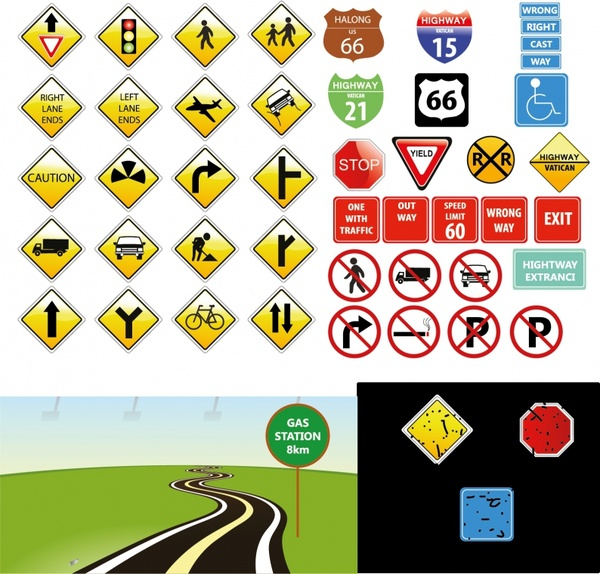 Traffic Signs Free Vector In Adobe Illustrator Ai