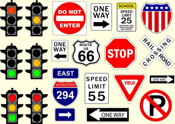 traffic signs templates colored classical flat design