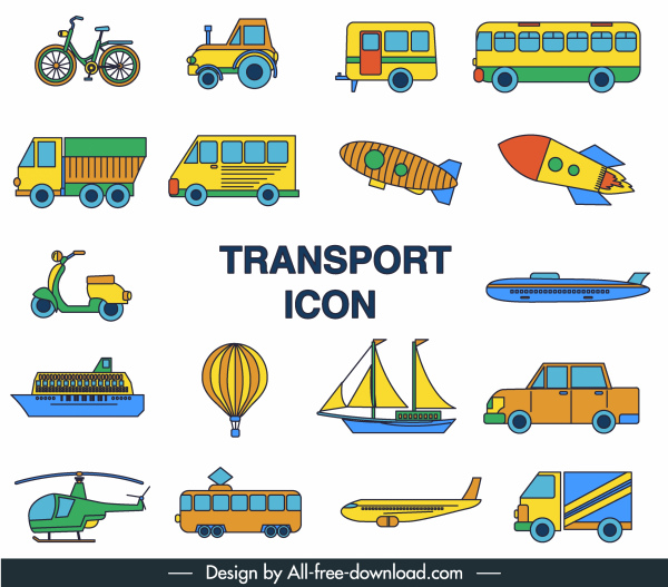 transportation icons colorful flat symbols sketch