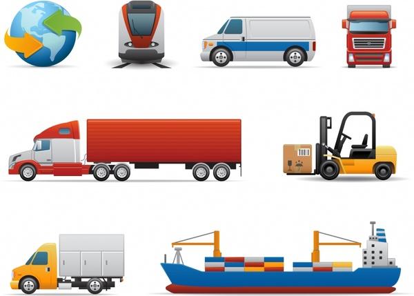 logistics icons modern vehicles sketch