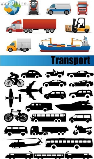 logistic vehicles icons colored modern silhouettes design