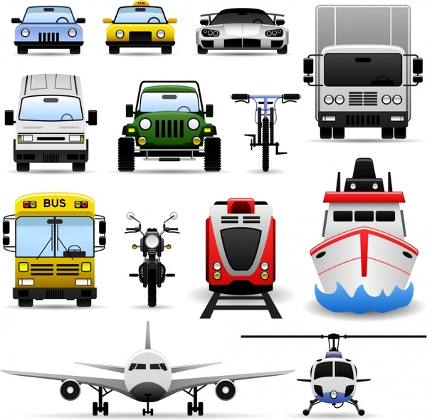 transportation vehicles icons colored modern sketch