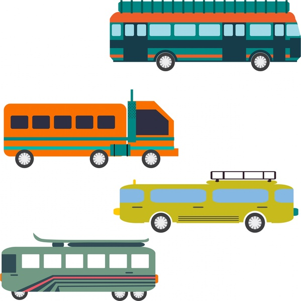 transportation vehicles collection various types on white background