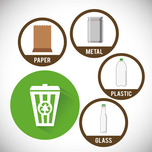 trash can with eco icons vector