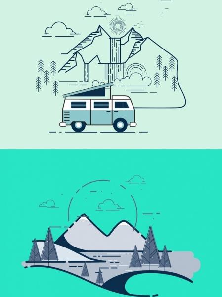 travel banner car mountain icon outline