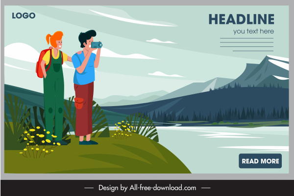 travel banner lake scenery tourists icons cartoon sketch