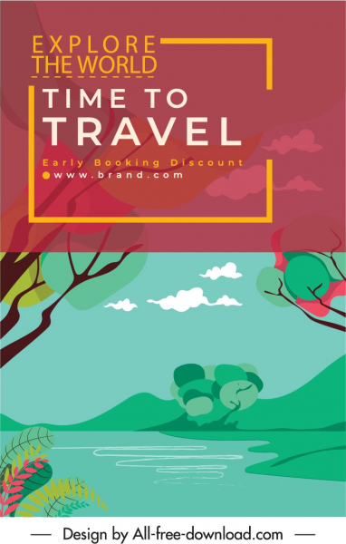 travel banner template lake scene sketch colorful classic