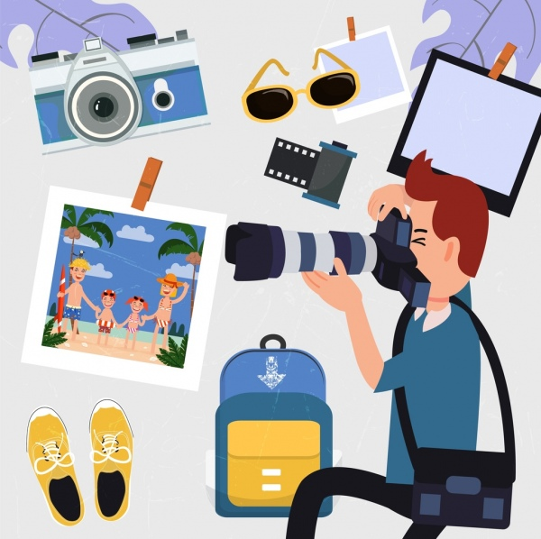 travel design elements photographing male icon personal accessories