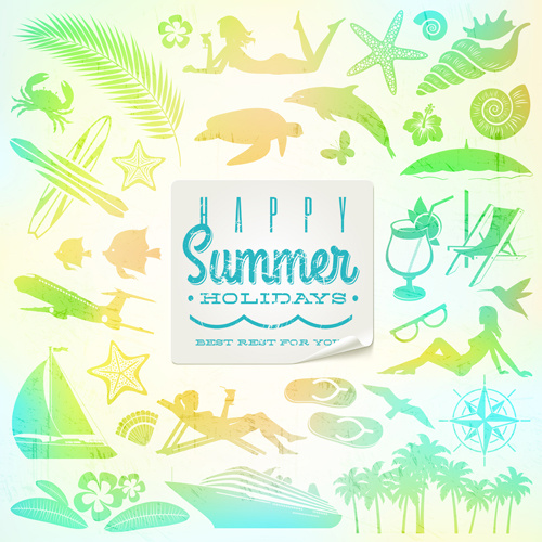 travel elements with summer holiday background