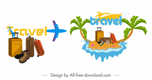 travel icons airplane luggage island sketch colorful design