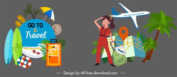 travel icons beach symbols tourist airplane map sketch