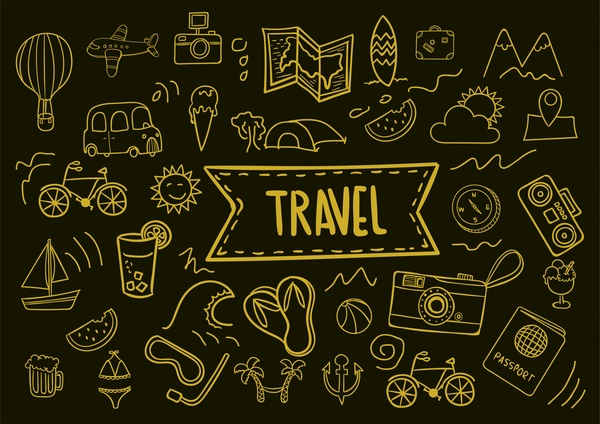 travel icons collection hand drawn dark background style