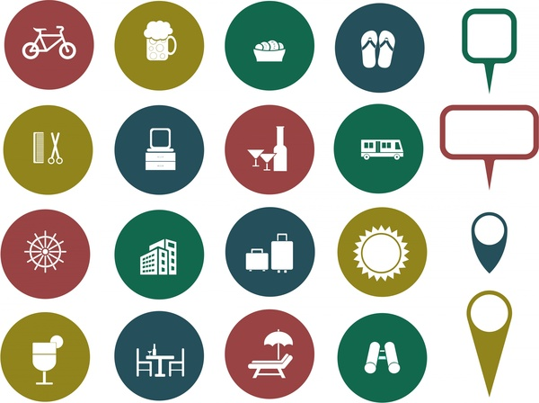Travel Icons Collection Various Symbols In Round Isolation Free Vector 1 77mb
