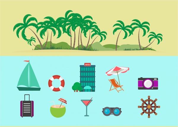 travel icons design elements various colored symbols
