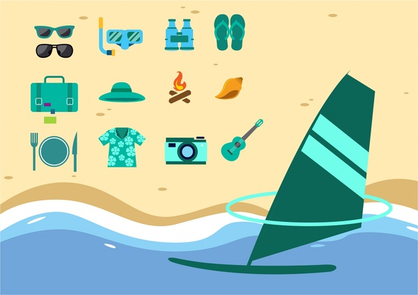 travel icons design elements with sea style