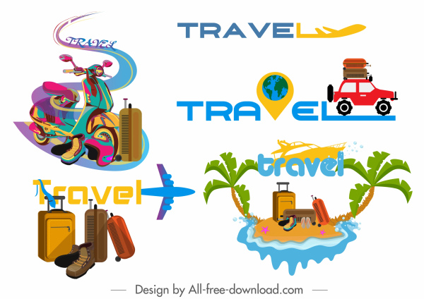 travel icons vehicles luggages island sketch